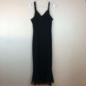 Evan Picone Black Maxi Ruffle Knot Evening Dress